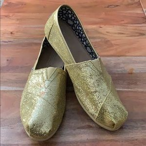 TOMS Gold Glitter Slip Ons